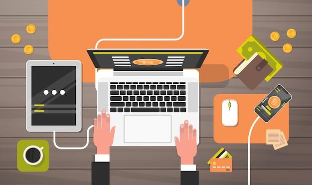 Bitcoin, exploitation minière, lieu de travail, angle de vue, homme, travaillant sur un ordinateur portable, crypto, monnaie, conce