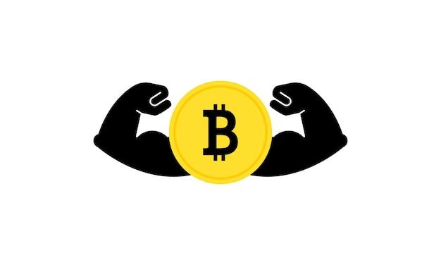 Bitcoin fort. crypto-monnaie puissante. bancaire. vecteur sur fond blanc isolé. eps 10.