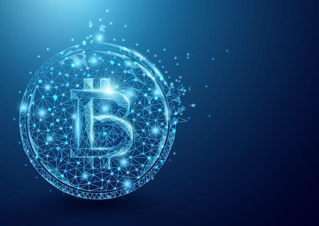 Bitcoin icône forme lignes particule