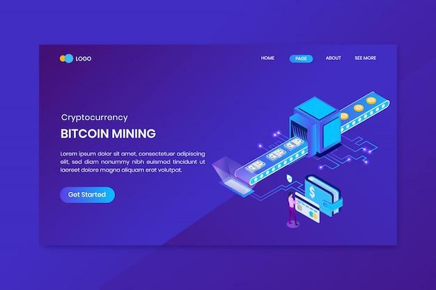 Bitcoin isométrique faire de l'argent concept atterrissage