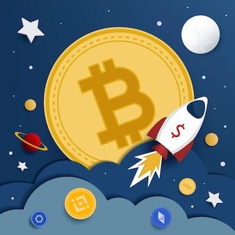 Bitcoin à la lune. illustration vectorielle