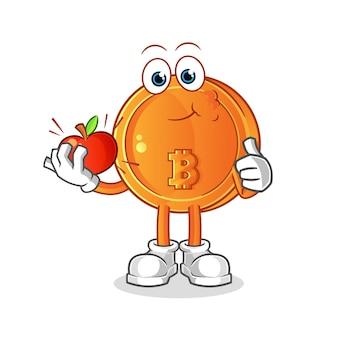 Bitcoin mangeant une illustration de pomme