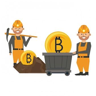 Bitcoin mines et travailleurs avec pick
