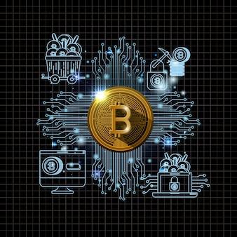 Bitcoin mining set icônes vector illustration design