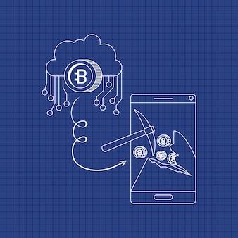 Bitcoin mining set icônes