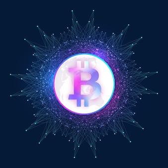 Bitcoin. pièce de monnaie physique. la monnaie numérique bitcoin endommage le système financier mondial. crypto-monnaie. argent virtuel. fond de point de carte du monde. illustration vectorielle.