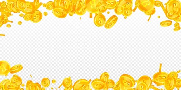 Bitcoin, pièces de monnaie internet tombant. pièces btc éparses immaculées. crypto-monnaie, monnaie numérique. concept de jackpot, de richesse ou de réussite extatique. illustration vectorielle.