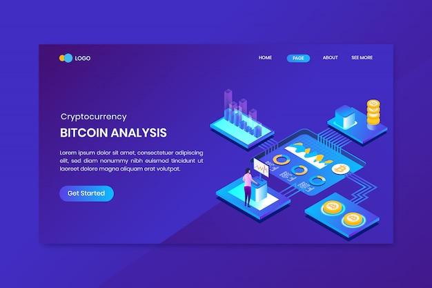 Bitcoin seo analysis concept isométrique