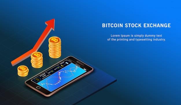 Bitcoin up concept de croissance