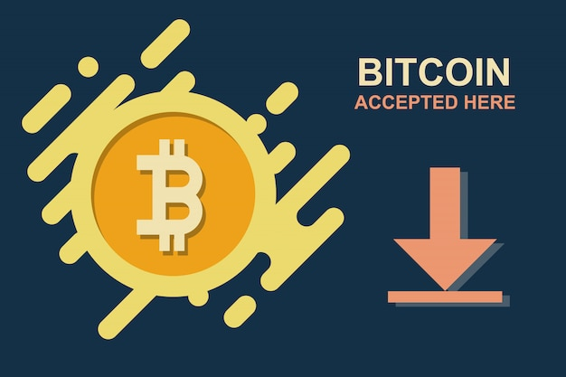 Bitcoin vecteur icône acceptée avec pièce d'or