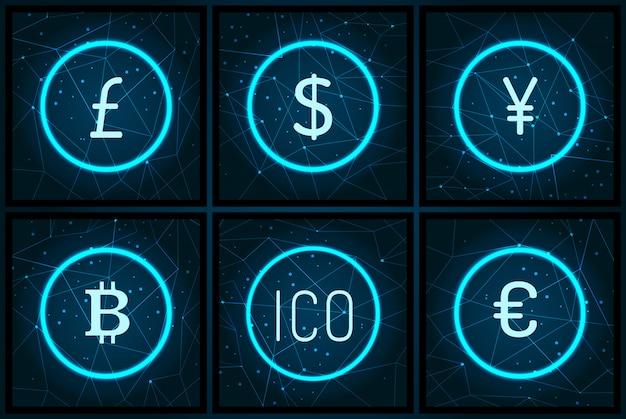 Bitcoin yen et pound sterling set. symboles monétaires