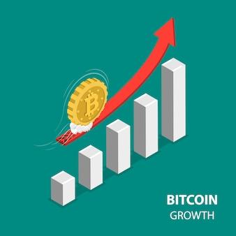 Bitcoing croissance plat isométrique low poly
