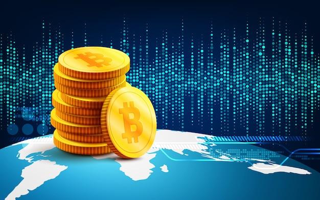 Bitcoins dorés et nouveau concept d'argent virtuel