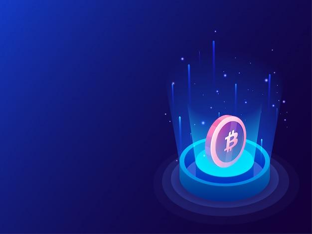 Bitcoins entre les rayons numériques émergents.