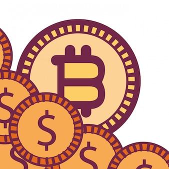 Bitcoins et icône de pièces