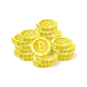 Bitcoins pile de pièces d'isolation