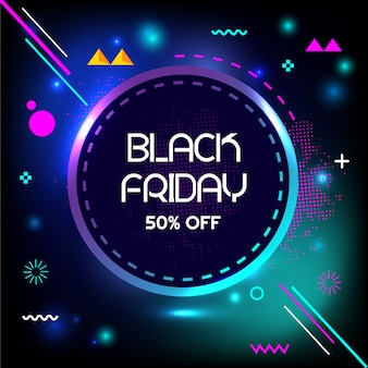 Black friday: 50% de rabais sur la bannière de géométrie créative de vente flash spéciale