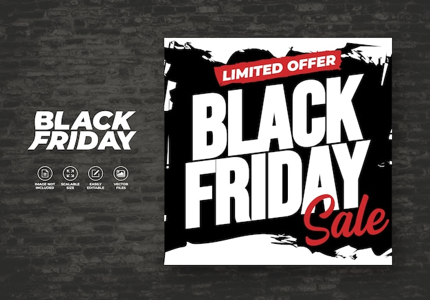 Black friday abstract social media sale design banner modèle