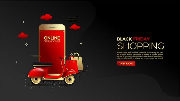 Black friday achats en ligne avec des smartphones dorés et des véhicules de livraison.