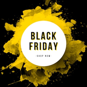 Black friday banner avec éclaboussures d'aquarelle