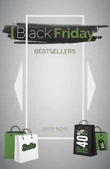 Black friday best-sellers 3d modèle de vecteur de bannière web. jusqu'à 40 pour cent de remise sur la mise en page de l'affiche. achat d'articles le plus souvent. aubaine d'achat. sacs à provisions avec étiquette de vente. texte dans un cadre blanc