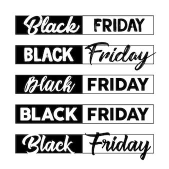 Black friday calligraphic designs set vector. vente, jeu d'étiquettes de liquidation