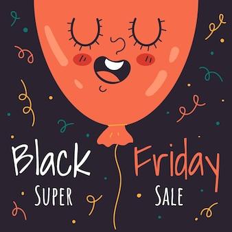 Black friday cartoon ballon personnage mascotte flyer affiche illustration plate