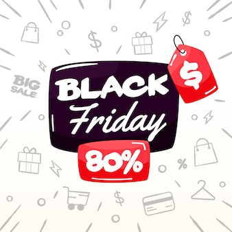 Black friday concept dessiné à la main