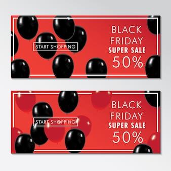 Black friday coupon avec un fond rouge et des ballons noirs