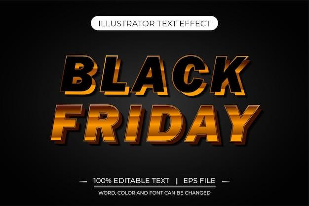Black friday effet de texte modifiable 3d doré effet de texte vectoriel modifiable
