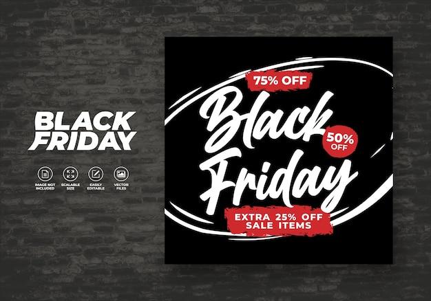 Black friday for social media post feed remise modèle de bannière gratuit
