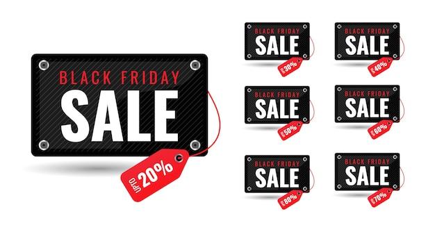 Black friday grande vente 3d offre spéciale à durée limitée pour cent de réduction bannière pour méga vente et étiquette de prix