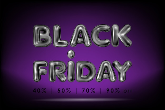 Black friday lettrage en latex noir sur violet