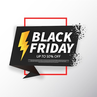 Black Friday Origami Bannière Brisée