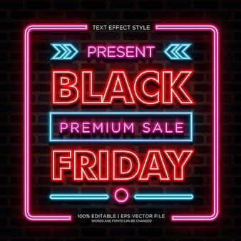 Black friday premium sale effets de texte neon