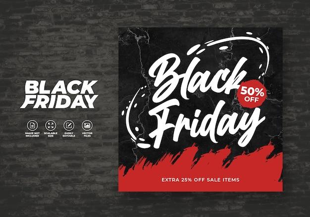 Black friday promo modèle de bannière post feed sur les médias sociaux