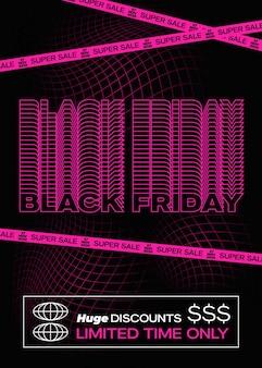 Black friday purple typography banner, poster ou flayer template. concept de fond de grille de décoloration créative. éléments décoratifs abstraits dans un cadre.
