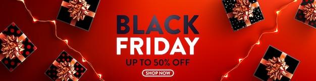 Black friday sale 50% de réduction sur l'affiche avec boîte-cadeau et guirlandes lumineuses led pour la vente au détail