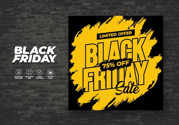 Black friday social media post feed background discount banner modèle