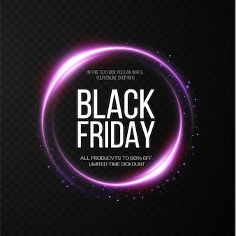 Black friday super sale cadre rond lumineux doré réaliste bannière de remise pour les vacances