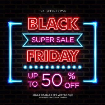Black friday super sale effets de texte neon