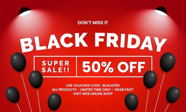 Black friday super vente boutique en ligne conception de modèle de promotion de bannière avec des ballons et une lampe de projecteur