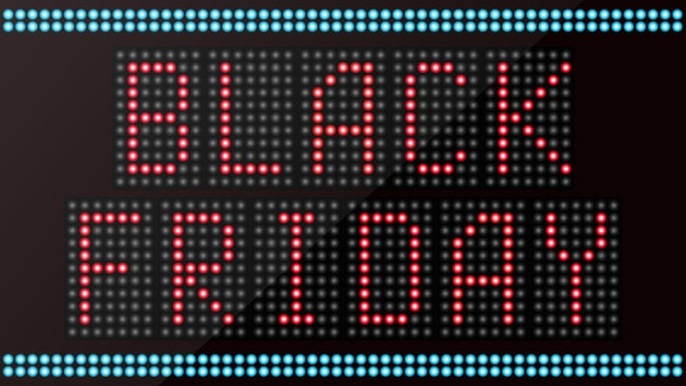 Black friday texte sur panneau d'affichage à led numérique