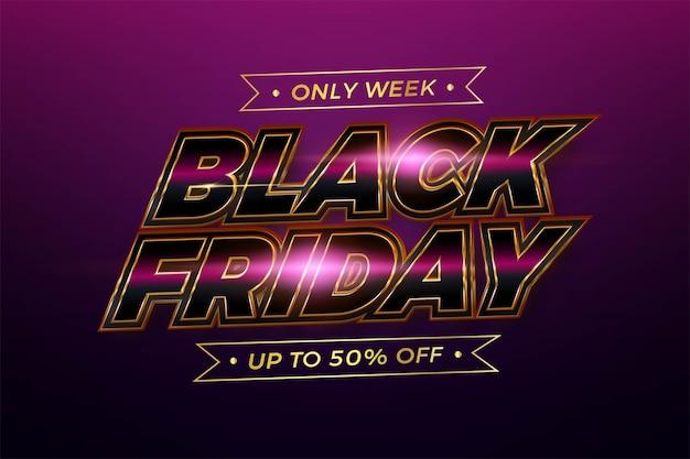 Black friday thème effet de texte métal rose réaliste avec un concept de lumière pour le marché de promotion de modèle de flayer et de bannière à la mode en ligne