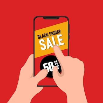 Black Friday Traite La Conception Avec Un Smartphone Vecteur Premium