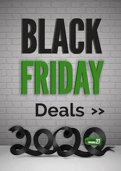 Black friday traite un modèle de bannière web vectoriel 3d réaliste. mise en page de l'affiche publicitaire du jour des ventes 2020 avec typographie. 27 novembre offres spéciales pour la promotion des clients