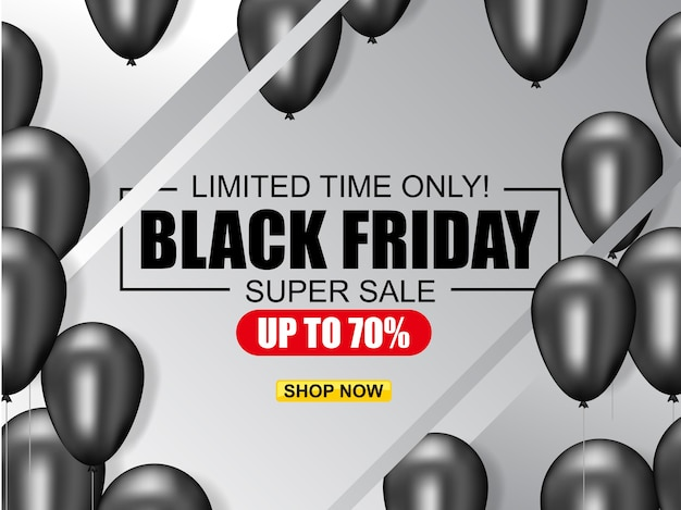 Black friday vente affiche illustration avec des ballons brillants