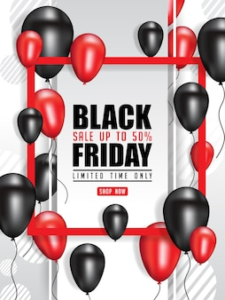 Black friday vente affiche illustration avec des ballons brillants