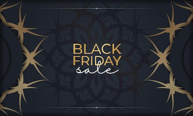 Black friday vente affiche vente bleu foncé avec motif doré vintage