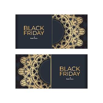Black friday vente affiche vente bleu foncé avec motif or luxueux